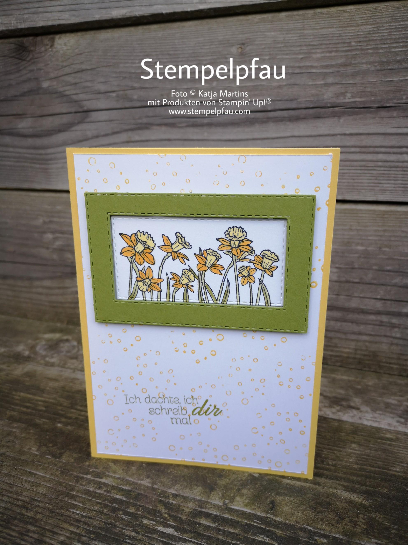 Karte zum Frühling mit Osterglocken. Produkte sind alle von Stampin' Up!