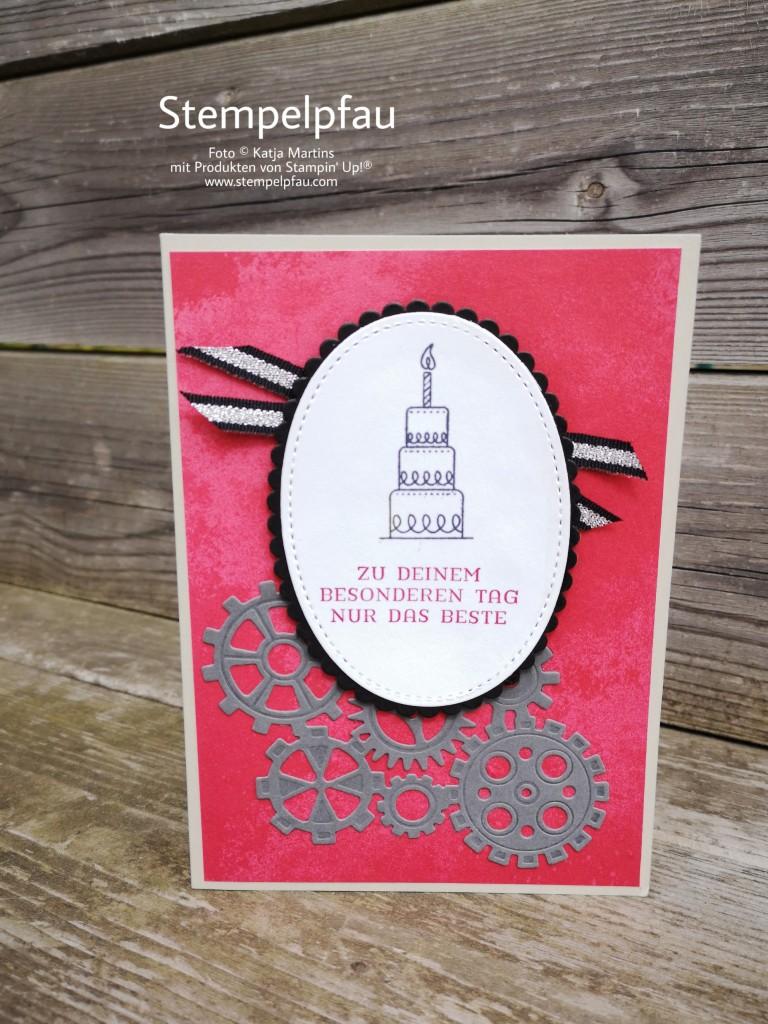 Stampinup, Geburtstagskarte, Mann, Zahnräder, Rot,