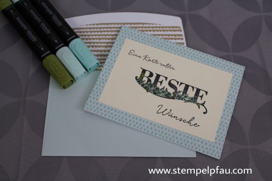 Karte in Aquamarion mit Produkten aus der Sale-a-Bration von Stampin' Up!
