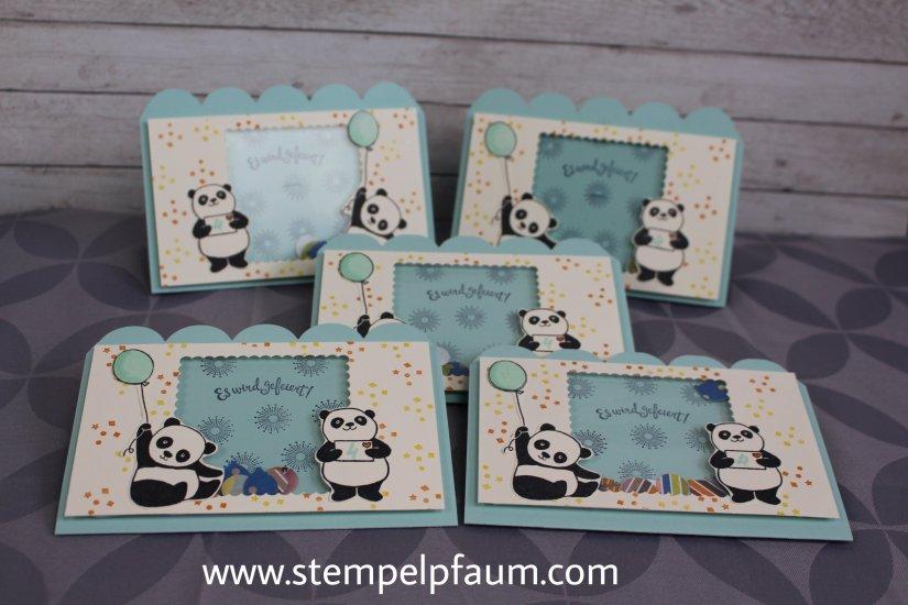 Einladungskarten mit dem Stempelset Party Pandas aus der Sale-a-Bration