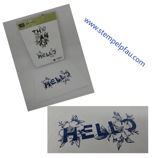 Briefumschlag mit Stempel Hello von Stampin' Up! aufgepeppt.