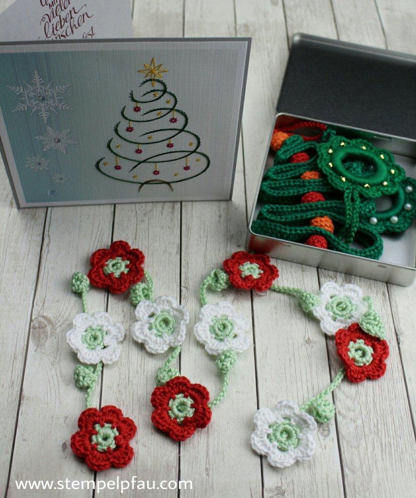 Blumengirlande häkeln, Weihnachten Wichteln