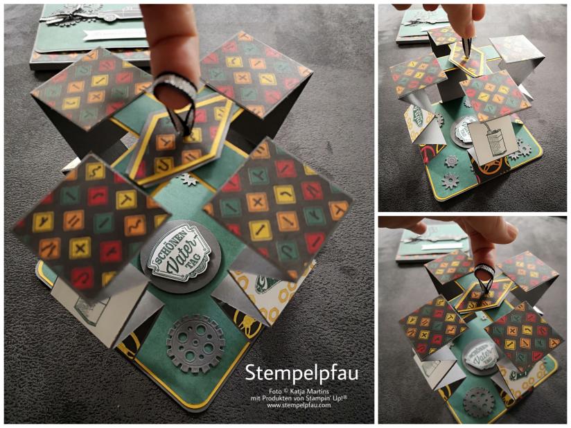 Akkordeonkarte mit der neuen Produktreihe In der Werkstatt von Stampin Up!