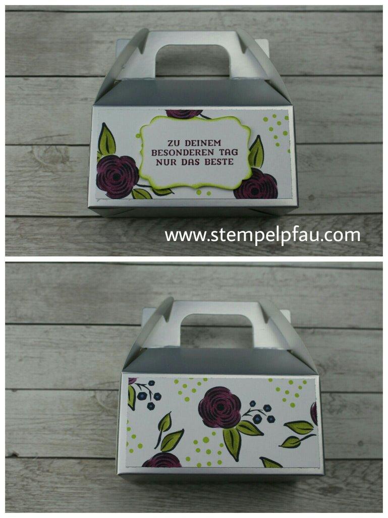 Blog-Hop Alle meine Geburtstagsgrüße Geschenkbox mit selbtgestempelten Designerpapier