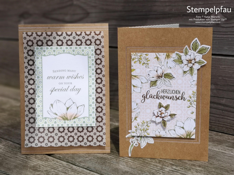 Geburtstagskarte mit der Magnolienserie aus dem neuen Jahreskatalog von Stampin' Up!