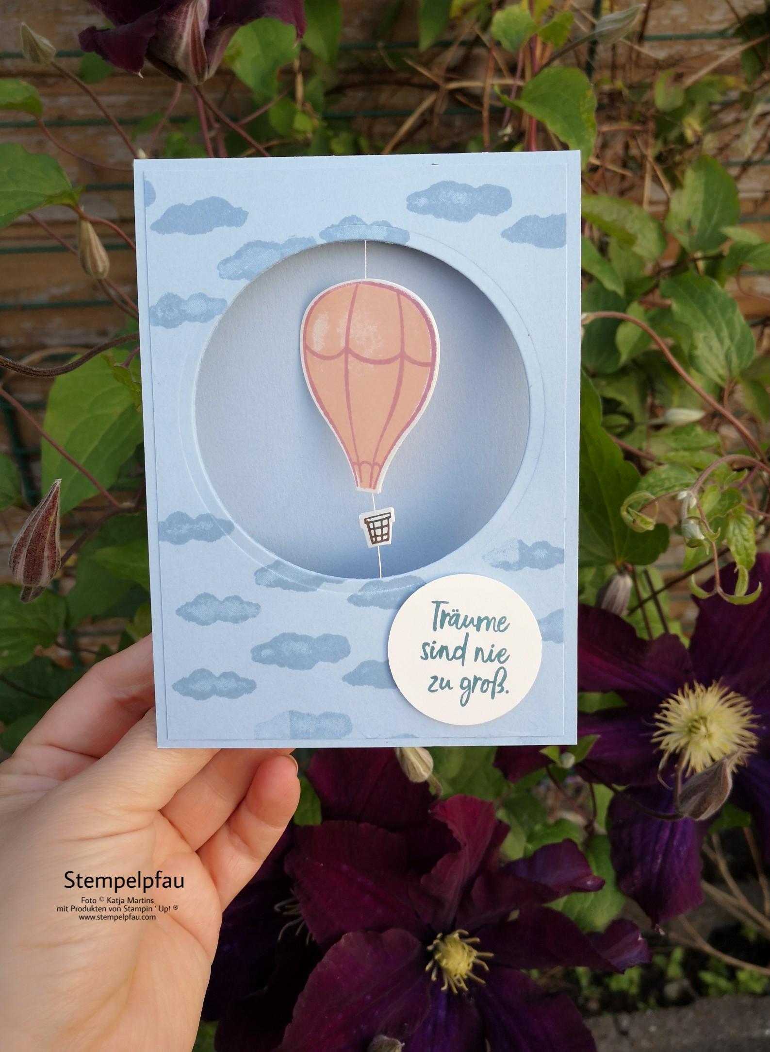 Heißluftballons Stampin' Up! Über den Wolken Stempelpfau