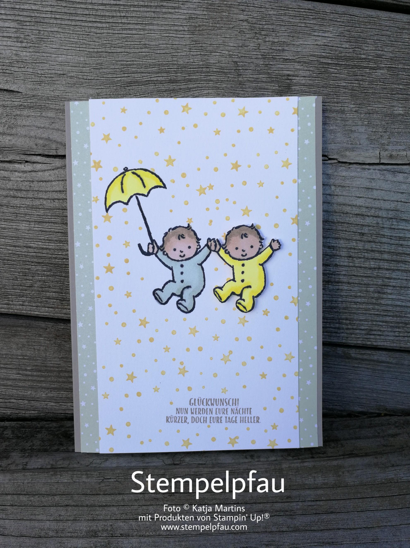 Stampin' Up! Baby Karten Zwillinge Auftragsarbeit