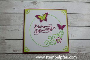 Fadengrafik trifft auf Stampin' Up! - Geburtstagskarte mit Schmetterlingen.