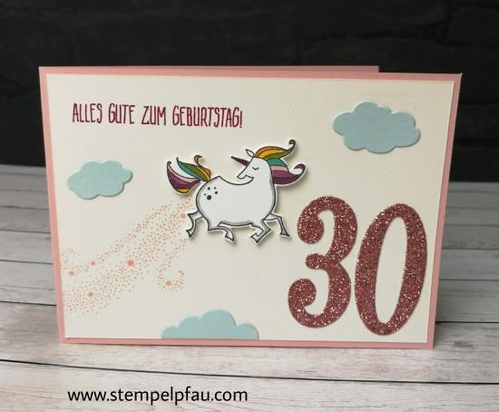 Einhorn Karte zum 30. Geburtstag. Produkte von Stampin' Up!