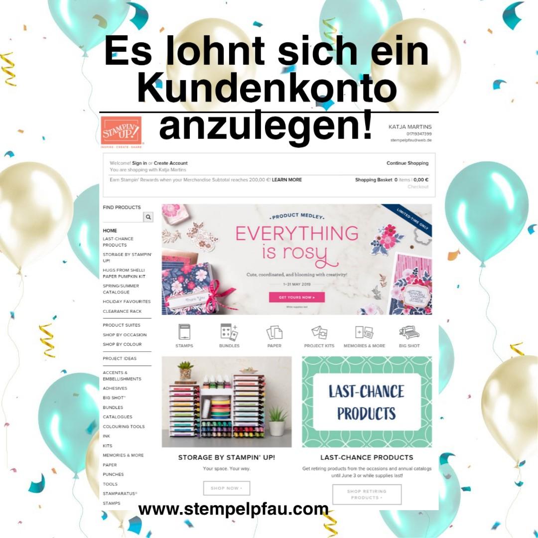 Kundenkonto Onlineshop von Stampin' Up!