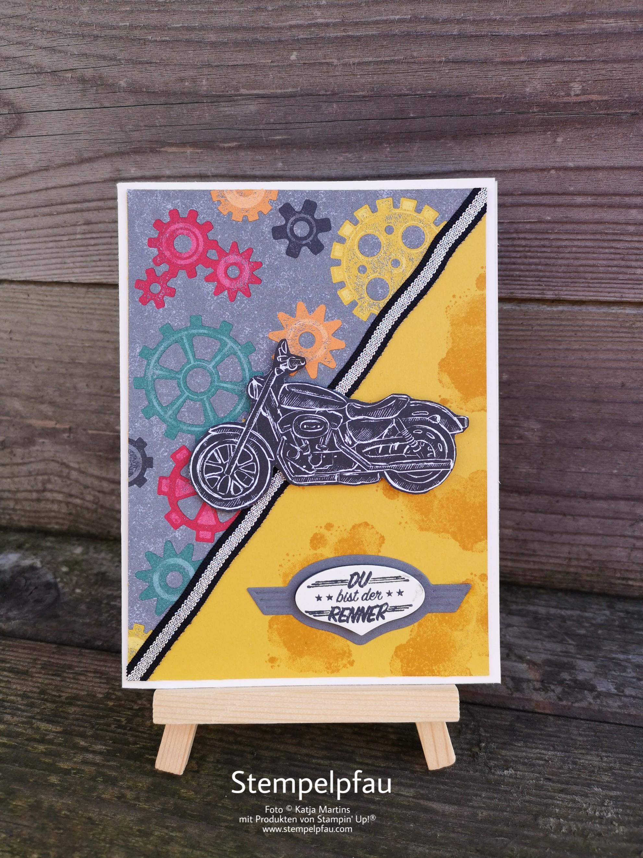 One Sheet Wonder Karte Motorrad mit dem Produktpaket In der Werkstatt von Stampin' Up!