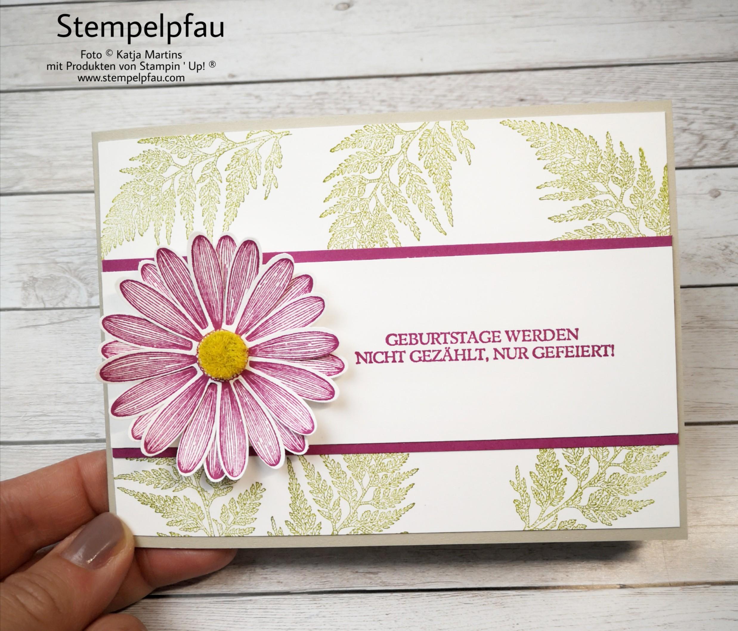 Geburtstagskarte mit dem Gänseblümchenglück Stempelpfau ist kreativ unterwegs