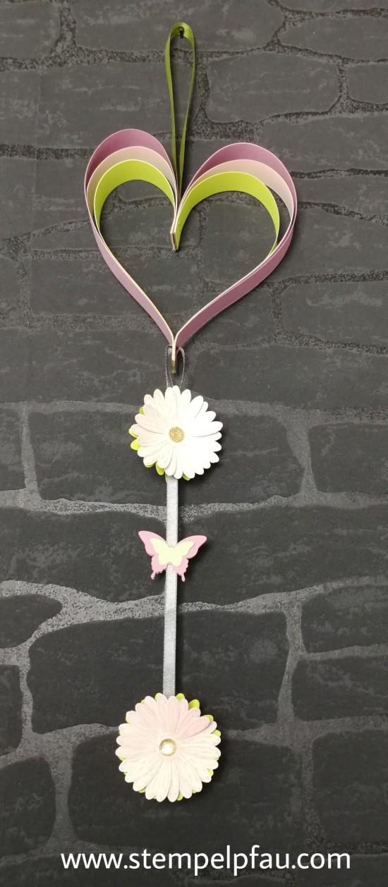 Herz mit Gänseblümchen als Dekoration für die Wand. Gestaltet mit Stampin' Up! Produkten. Tolle Wand Dekoration