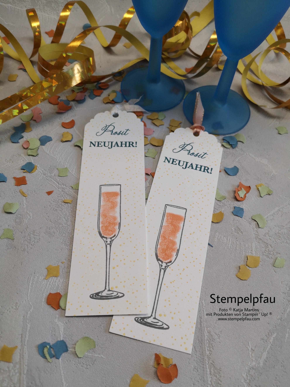 Lesezeichen Neujahr, Stempelpfau, Stampin' Up!